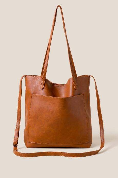 Francesca S Rosie Soft Vegan Leather Tote In Brown Brown Brownleatherhandbags Leather Handbags Vintage Leather Handbag Soft Leather Tote