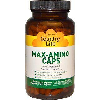 Country Life Max Amino Caps With Vitamin B 6 180 Veggie Caps Iherb Vitamin B Vitamins Veggie Caps