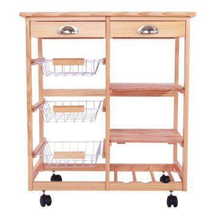 Ktaxon Rolling Wood Kitchen Trolley Island Utility Storage Cart With Drawers Baskets Kitchen Cart On Wheels Walmart Com Storage Cart With Drawers Kitchen Trolley Kitchen Island Storage