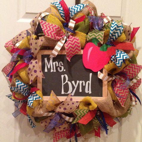Teacher burlap wreath