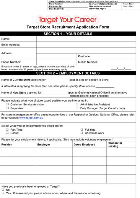 Target Application Form employment applications Pinterest - employee registration form