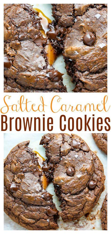 Chocolate Fudge Cookies, Salted Caramel Brownies, Chocolate Caramels, Cookies With Caramel, Salted Caramel Desserts, Chocolate Christmas Cookies, Caramel Treats, Nutella Cookies, Chocolate Tarts