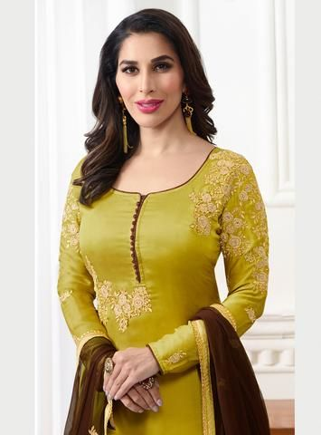 Lemon Green Satin Embroidered Latest Design Salwar Kameez Pakistani Salwar Suit Neck Designs Kurti Neck Designs Dress Neck Designs