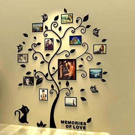 Unitendo Wall Stickers Photo Frames FamilyTree Wall Decal Easy to Install &Apply DIY Photo Gallery Frame Decor Sticker Home Art Decor, Black Leaves Tree with cat, XL. Family Tree Decal, Wall Stickers Family, Tree Decals, Wall Stickers Murals, Wall Decals, Tree Wall Art, 3d Wall, Frame Decor, Photo 3d