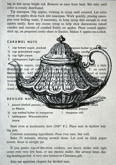 Tea Time!  Teapot print on vintage, salvaged cookbook page, by CrowBiz