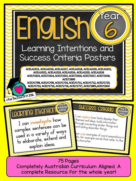 This packet has all the posters you will need to display the learning INTENTIONS for the whole year: GRADE 6 Australian Curriculum English Reading and Writing, Speaking and Listening (Language, Literature, Literacy). All content descriptors have been reworded into smart goals with an accompanying poster showing the success criteria needed to achieve these goals. 78 pages for $10!