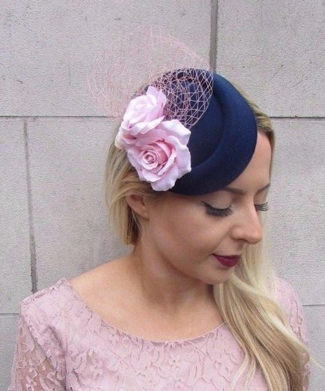 White pillbox hat with red roses