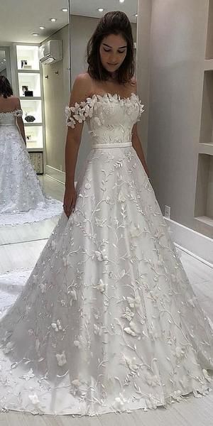 Off Shoulder A-line Lace Long Wedding Dresses Online, Cheap Bridal Dre – SposaDresses