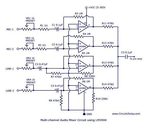Multi-channel-audio-mixer-circuit | รวมวงจร | Electronic