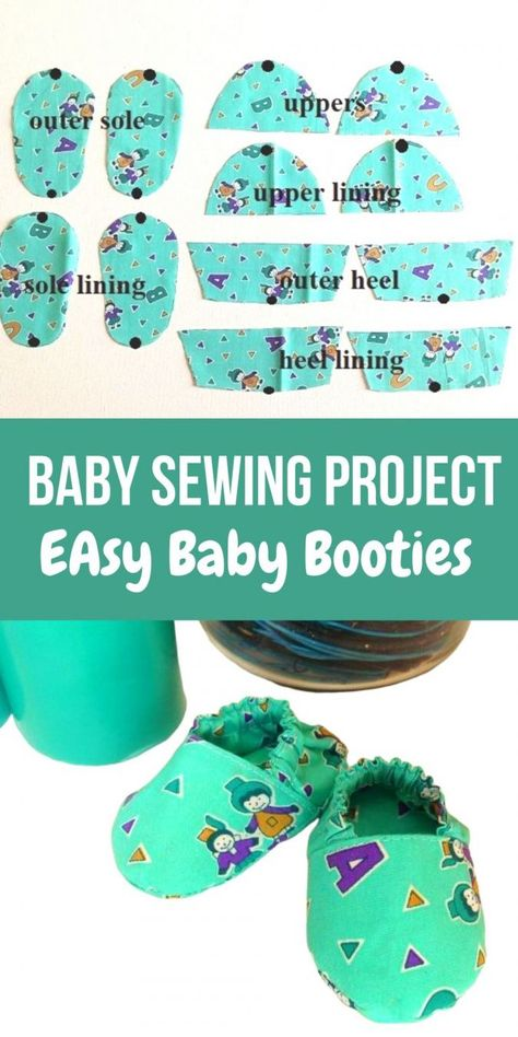 This easy baby booties sewing pattern will help you make cute little booties with the leftover fabric from your little one's dress. This easy DIY sewing tutorial will help you dress your little one up in a matching dress and shoes! Easy Baby Sewing Patterns, Baby Sewing Projects, Baby Clothes Patterns, Sewing Projects For Beginners, Sewing For Kids, Pattern Sewing, Sewing Tips, Crochet Patterns, Sewing Hacks