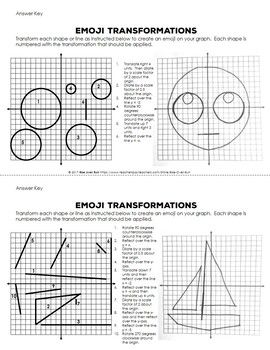 Transformations Practice Emojis Translate Reflect Rotate And Dilate Transformation Geometry Translations Math Transformations Math