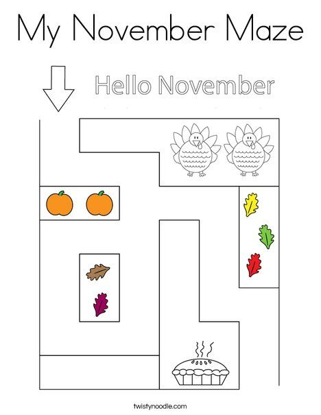 My November Maze Coloring Page Twisty Noodle Coloring Pages Autumn Theme Printable Mazes