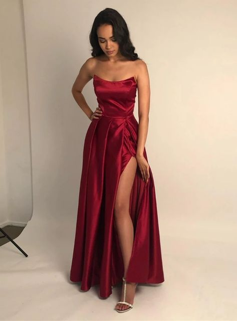 Apr 2020 - Burgundy A Line Satin Prom Dress Strapless Plus Size Floor Length Formal Evening Dresses Long Party Gowns Strapless Prom Dresses, Pretty Prom Dresses, Ball Dresses, Elegant Dresses, Dresses For Prom, Dresses Dresses, Long Fancy Dresses, Summer Dresses, Prom Dreses