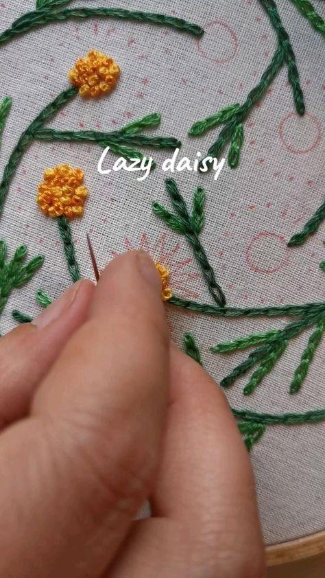Lazy daisy stitch video tutorial 🌿