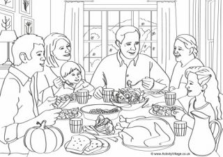 Coloring Dinner Family Pages Thanksgiving 2020