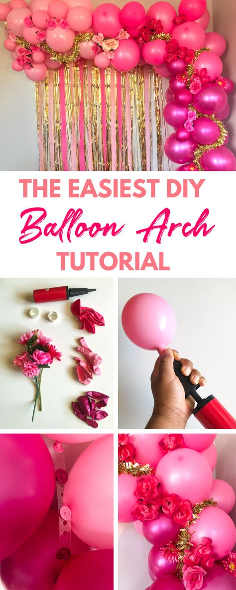 Feb 2020 - Learn how to make a pink balloon arch without helium in under two hours that your guests will love with my easy step by step tutorial. Ballon Arch Diy, Rainbow Balloon Arch, Balloon Backdrop, Balloon Columns, Balloon Garland, Balloon Flowers, Ballon Decorations, Diy Party Decorations, Balloon Decoration For Birthday
