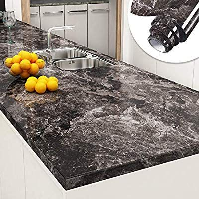 Yenhome Peel And Stick Countertops 24 X 196 Inch Sandstone Black Granite Marble Removable Wallpaper De Countertop Covers Kitchen Wallpaper Easy Kitchen Upgrade