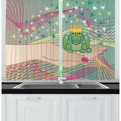 East Urban Home 2 Piece Frogs Amphibian Animal Prince On Girls Hand Swirling Lines And Stars Fairytale Themed Ki Kitchen Themes Kitchen Curtain Sets Amphibians