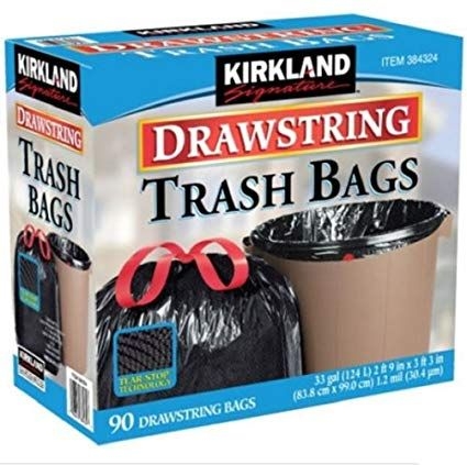Kirkland Signature 384324 100 Recyclable Drawstring Trash Bag 90 Count 33 Gallon Black Review Trash Bags Trash Bag Trash