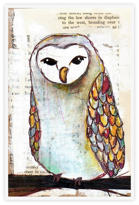 barn owl PRINT fine art owl print OWL ART --- replication of a multimedia painting - winter bird with colorful feathers on his wings barn owl art …