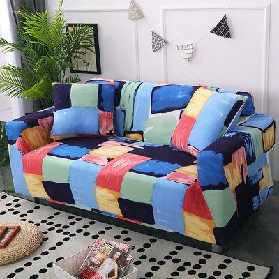 Corrigan Studio Box Cushion Loveseat Slipcover In 2021 Slipcovers Couches Living Room Sectional Couch Covers