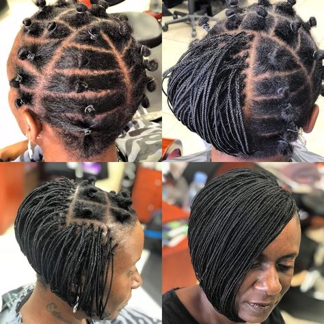 Creating  precise  bobs whether it's  your natural hair or  installing braids . The Stylist must be familiar with  cutting techniques. This sleek bob installed with braids is a great protective-style for the Summer. #boblife #bobplaits #bobhaircut #protectivestyles #naturalhair #afrocentric #afrohair #braids