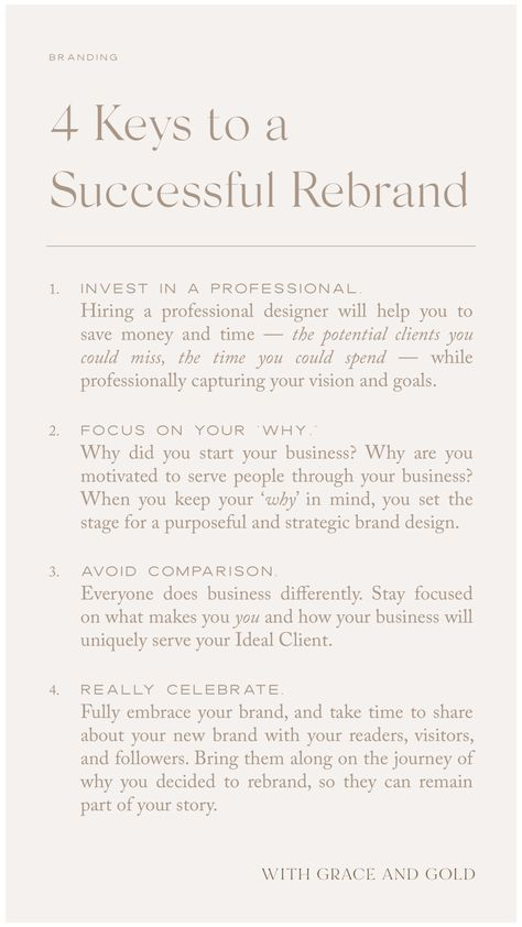 4 Keys to a Successful Rebrand | With Grace and Gold