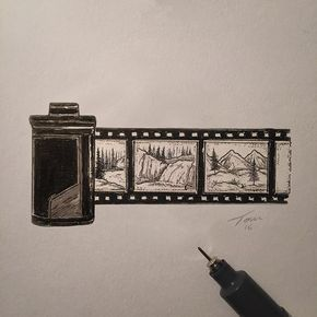 Film Roll Illustration With Some Tiny Landscapes Camera
