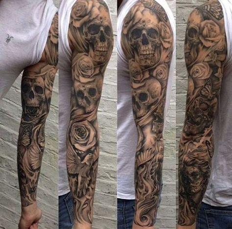 Tattoo Sleeve Skull Tatouage Bras Tatouage