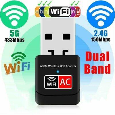 5G Hz Wireless Lan USB PC WiFi Adapter 802.11AC 600Mbps Dual Band 2.4G