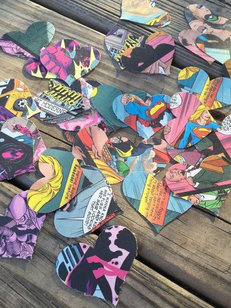Heart Shaped Comic Book Confetti Comic Book Confetti by glamMKE