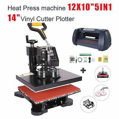 Details About 5 In 1 Heat Press 12x10 14 Vinyl Cutter Plotter T Shirt Sticker Print Usb Port In 2020 Vinyl Cutter Print Stickers Vinyl