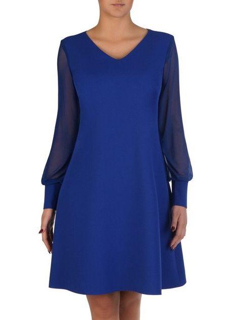 Rozkloszowana Sukienka Z Modnymi Rekawami 18312 Chabrowa Kreacja Wizytowa Sklep Online Modbis Pl Fashion Dresses For Work Dresses