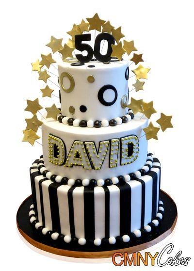 Black White And Gold 50th Birthday Cake