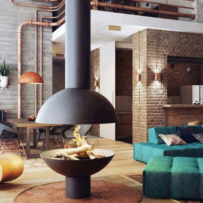 Vintage Style Chicago Loft Condo with Concrete Ceiling Design and - wohnzimmer industrial style