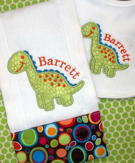 Dinosaur Applique Monogram Baby Boy Bib & Burp Cloth Set by Blumers Embroidery