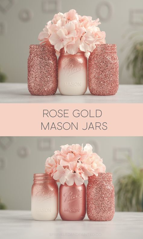 Gold Glitter and Ombre Mason Jars Mix and match rose gold and ombre mason jar decor or wedding & party centerpieces.Mix and match rose gold and ombre mason jar decor or wedding & party centerpieces. Glitter Paint Mason Jars, Glitter Mason Jars, Painted Mason Jars, Pink Mason Jars, Mason Jar Vases, Glitter Paint On Walls, Diys With Mason Jars, Bathroom Mason Jars, Wedding Mason Jars