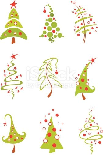 A Collection Of Vector Modern Christmas Trees Christmas Graphics Free Illustrated Christmas Tree Modern Christmas Tree