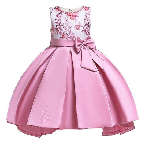 Summer children clothing girls dresses Size 2-10 Years baby Dress Kids Bow  Flower Clothing Princess Costume Girls Party Dress 3eb022df4297