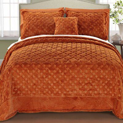 Darby Home Co Oversized Sipescoverlet Set Size Queen Color Burnt Orange Bed Spreads Bed Linens Luxury Bedspread Set