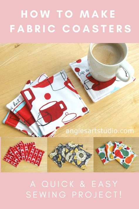 Fabric Coasters: A Quick and Easy Sewing Project — Angie's Art Studio Christmas Sewing Projects, Sewing Projects For Beginners, Craft Projects, Easy Kids Sewing Projects, Christmas Sewing Gifts, Christmas Sewing Patterns, Wood Projects, Fabric Crafts, Sewing Crafts