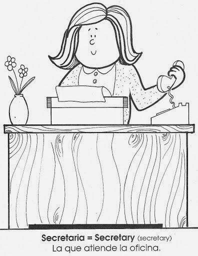 Maestra De Primaria La Profesiones En Ingles Y En Espanol Dibujos Para Colorear Oficios Y Profesiones Dibujos Dibujos Para Colorear