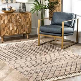 Beige Charmie Wool Modern Trellis Rug