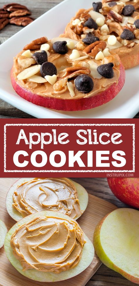 """Easy and fun snack ideas for kids! My kids love these apple slice """"cookies"""". They are the perfect healthy after-school snack that you don't have to feel guilty about. Super quick and fun for adults, too! Snacks easy Healthy & Easy Snack Ideas For Kids Healthy Meal Prep, Healthy Snacks For Kids, Quick And Easy Snacks, Snack Ideas For Kids, Snacks Kids, Quick Recipes For Kids, Kids Fun, Quick Food Ideas, Breakfast Ideas For Kids"""