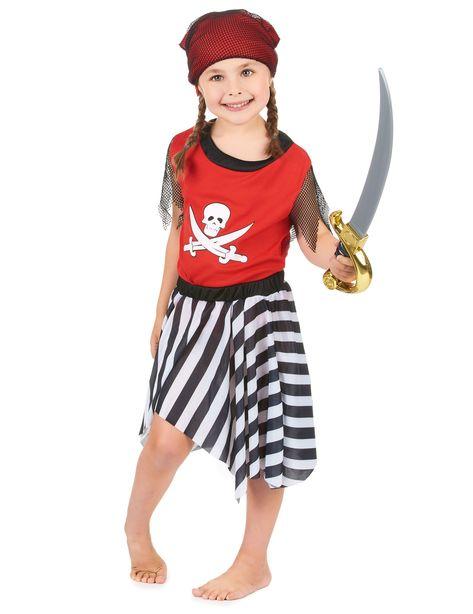 Costume pirata bambina  Questo costume da pirata per bambina si compone di  una tunica rossa e nera con un teschio bianco floccato sul davanti e  maniche ... 4f512d827c1c