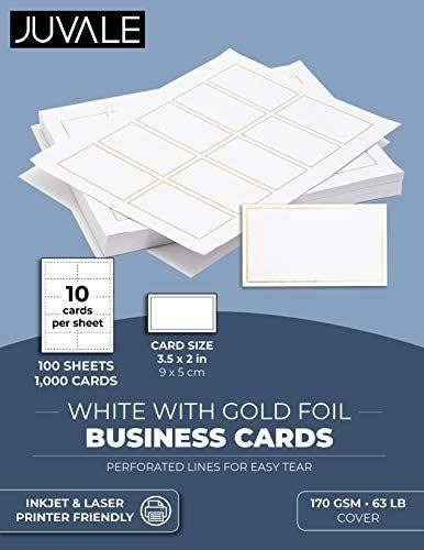 Amazon Com Juvale Printable Business Card Sheets 1000 Count 100 Sheets White With Gold F Printable Business Cards Foil Business Cards Metal Business Cards