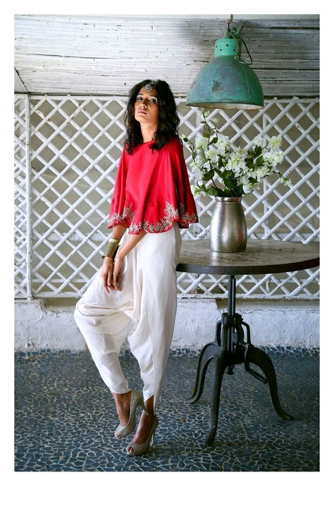 modern outfit , cape outfit , cape and dhoti pants outfit , red and white cape…