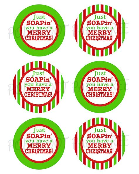 INSTANT DOWNLOAD DIY Printable Green Red Stripes Just Soapin You Have A Merry Christmas Hand Soap Gift Tags Teacher Gift Tags Stickers