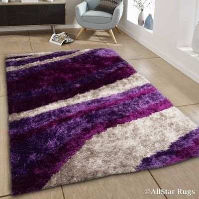 Allstar Rugs Hand Tufted Purple White Area Rug Rug Size 7 11 X