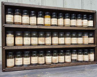 very large rustic spice rack holds 68